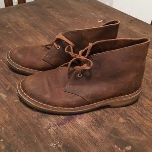 Clark's ankle boots booties 7 brown leather desert